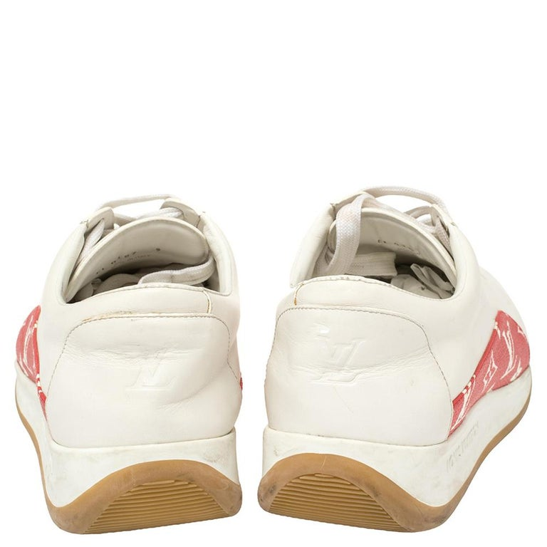Louis Vuitton x Supreme White Leather and Monogram Canvas Trim Sport Sneakers Si For Sale 3