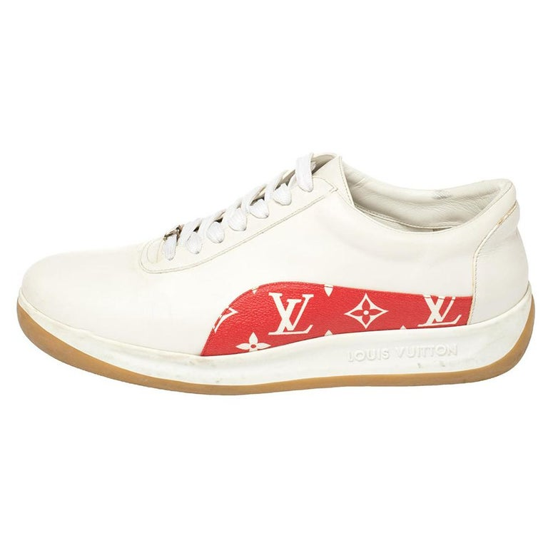 Louis Vuitton x Supreme White Leather and Monogram Canvas Trim Sport Sneakers Si For Sale