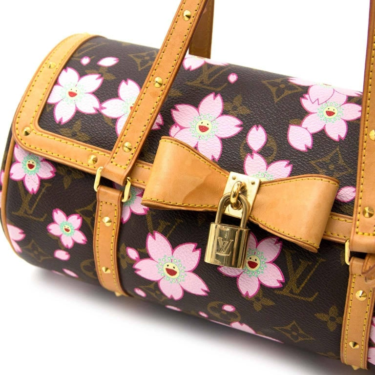 66b5413274a6 Brown Louis Vuitton by Takashi Murakami Papillon Cherry Blossom shoulder bag  For Sale