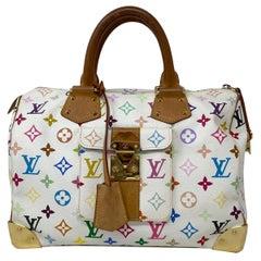 Louis Vuitton x Takashi Murakami Speedy Monogram 30 White Multicolor Handbag