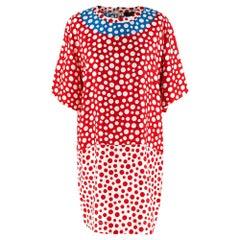 Louis Vuitton x Yayoi Kusama Red & Blue Silk Spotted Dress - Size US 10