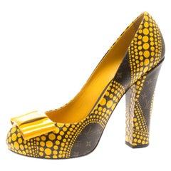 Louis Vuitton x Yayoi Kusama Yellow  Monogram Canvas Bow Detail Pumps Size 38