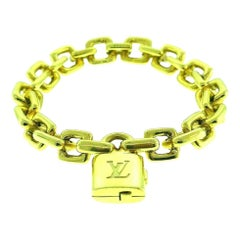 Louis Vuitton Yellow Gold Chain Bracelet with Locket Charm