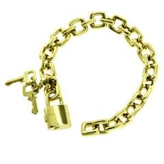 Louis Vuitton Yellow Gold Padlock and Keys Charm Bracelet