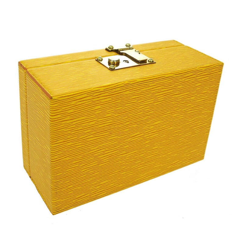 Women's or Men's Louis Vuitton Yellow Leather Top Handle Satchel Vanity Cosmetic Travel Bag W/Key For Sale
