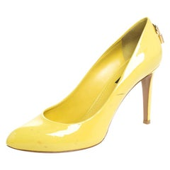 Louis Vuitton Yellow Patent Leather Oh Really! Pumps Size 38