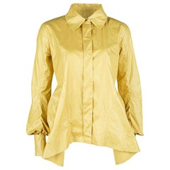 Louis Vuitton Yellow Top Stitch Detail Long Sleeve Asymmetric Shirt S