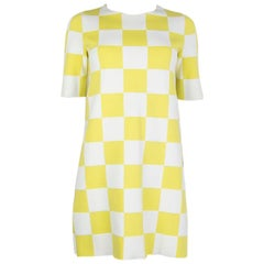 LOUIS VUITTON yellow & white cotton CHECK Short Sleeve Dress S