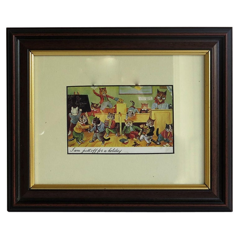 """Louis Wain Framed Cat Postcard """"I am Just Off on Holiday"""",  Posted England 1905 For Sale"""