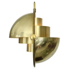 Louis Weisdorf Brass Vintage Multi-Lite Pendant Lyfa Denmark Original Edition
