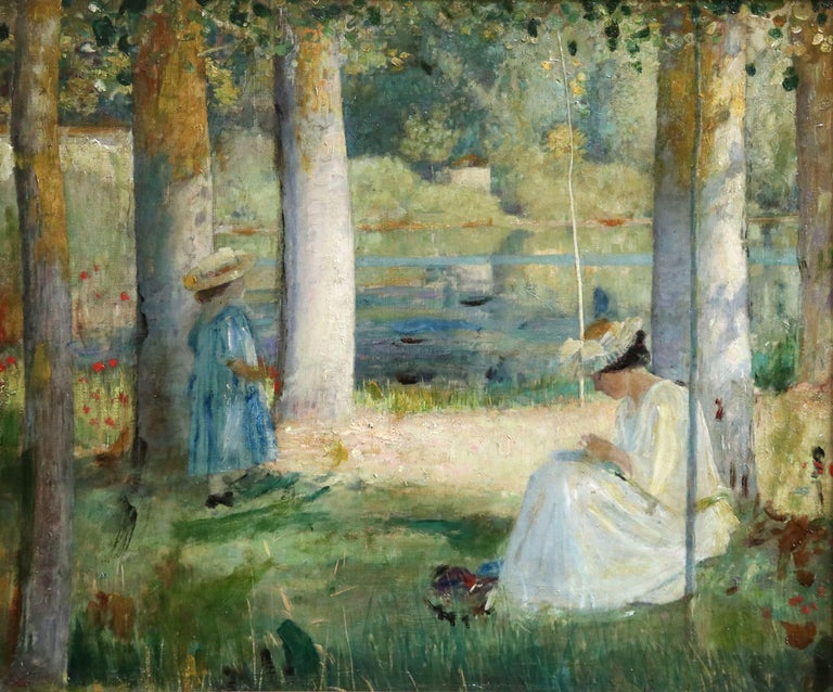 By the Lake - Summer - 19th Century Oil, Figures in Summer Landscape - L Hawkins For Sale 1