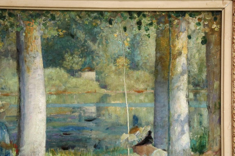 By the Lake - Summer - 19th Century Oil, Figures in Summer Landscape - L Hawkins For Sale 2