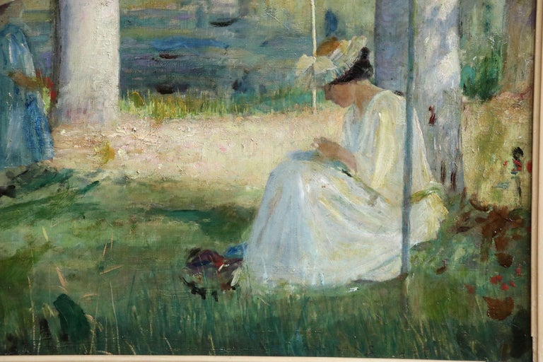 By the Lake - Summer - 19th Century Oil, Figures in Summer Landscape - L Hawkins For Sale 3