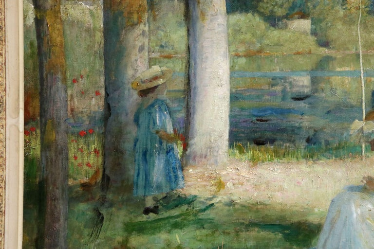 By the Lake - Summer - 19th Century Oil, Figures in Summer Landscape - L Hawkins For Sale 4