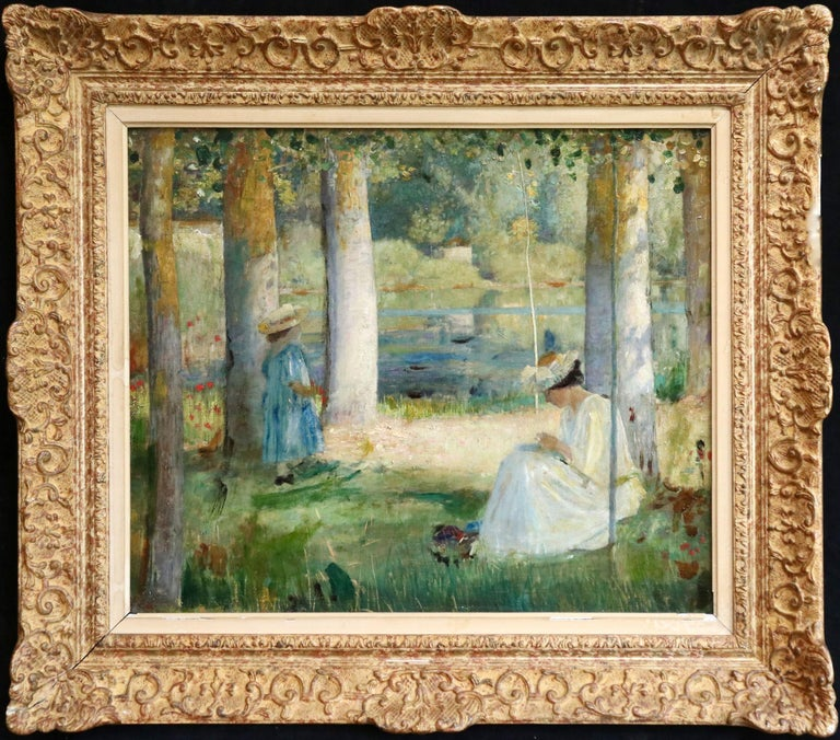 Oil on canvas circa 1900 by Louis Welden Hawkins depicting elegantly dressed woman and child resting in the shade of the trees by a lake. Signed lower right. Framed dimensions are 29 inches high by 25 inches wide.  Louis Welden Hawkins studied with