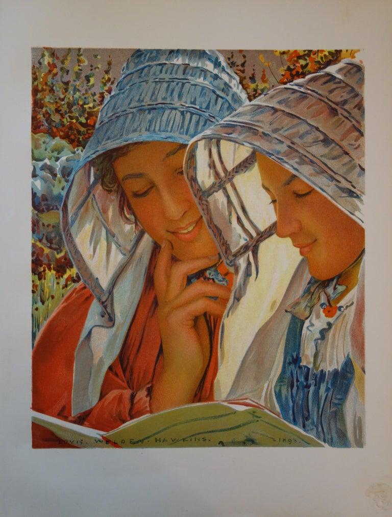 Louis Welden Hawkins Figurative Print - Reading Women - Original lithograph (L'Estampe Moderne 1897-1898)