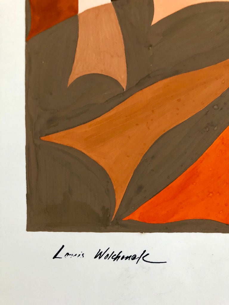 Abstract Expressionist Color Gouache Painting Mid Century Mod WPA Jewish Artist - Brown Abstract Painting by Louis Wolchonok