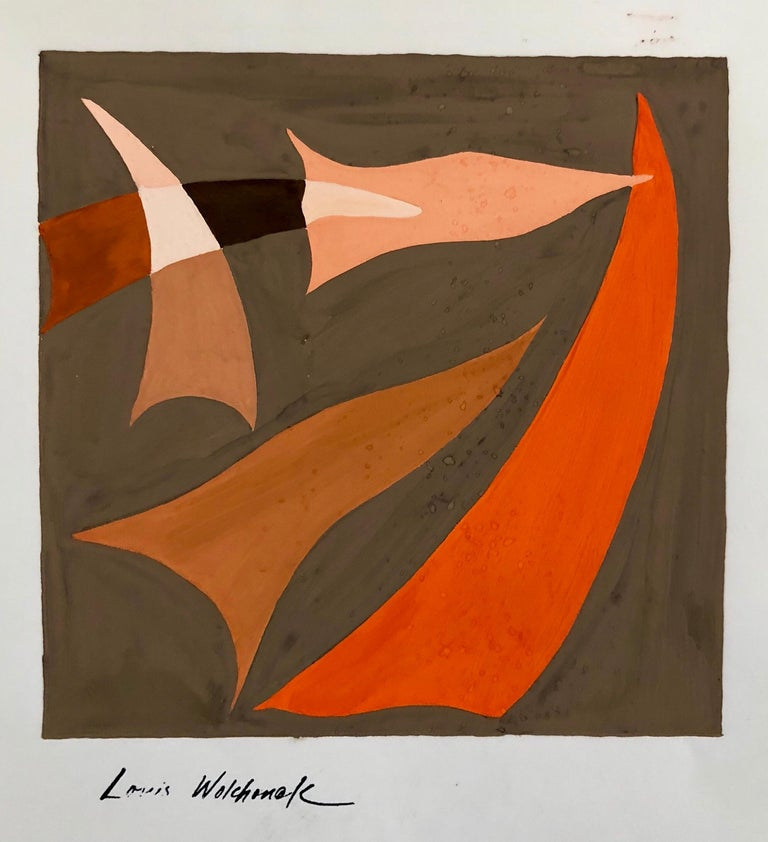 Louis Wolchonok Abstract Painting - Abstract Expressionist Color Gouache Painting Mid Century Mod WPA Jewish Artist