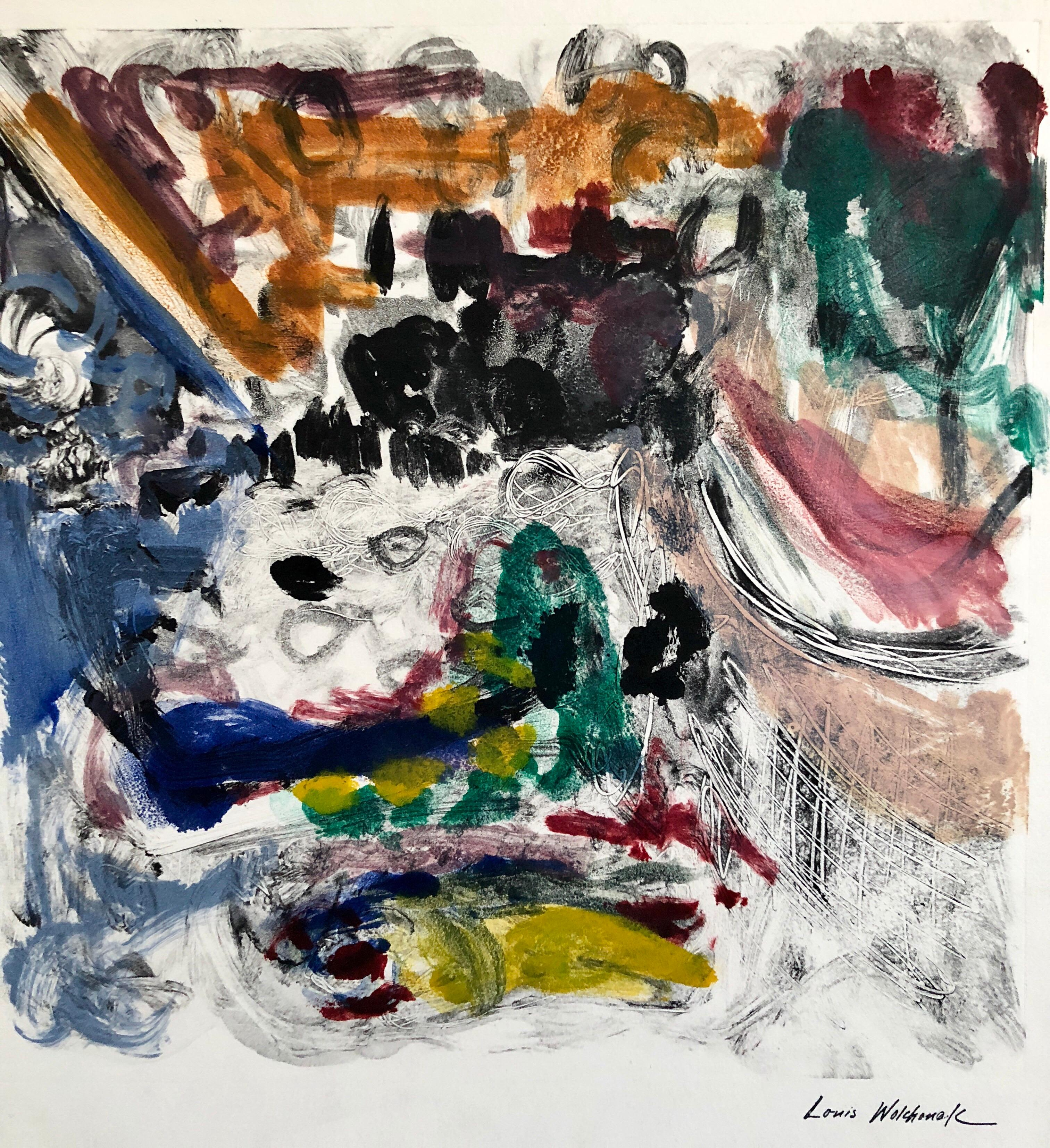 Abstract Expressionist Oil Painting Modern Monoprint WPA Jewish Artist