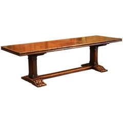 Louis XIII French Carved Chestnut and Oak Farm Table from the Pyrenees