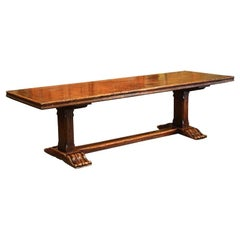 Louis XIII French Carved Chestnut and Oak Trestle Dining Table from the Pyrenees