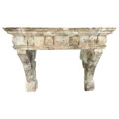 Louis XIII Limestone Fireplace from France