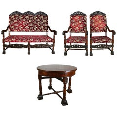 Louis XIII Style 19th Century French Walnut Throne Seating Set