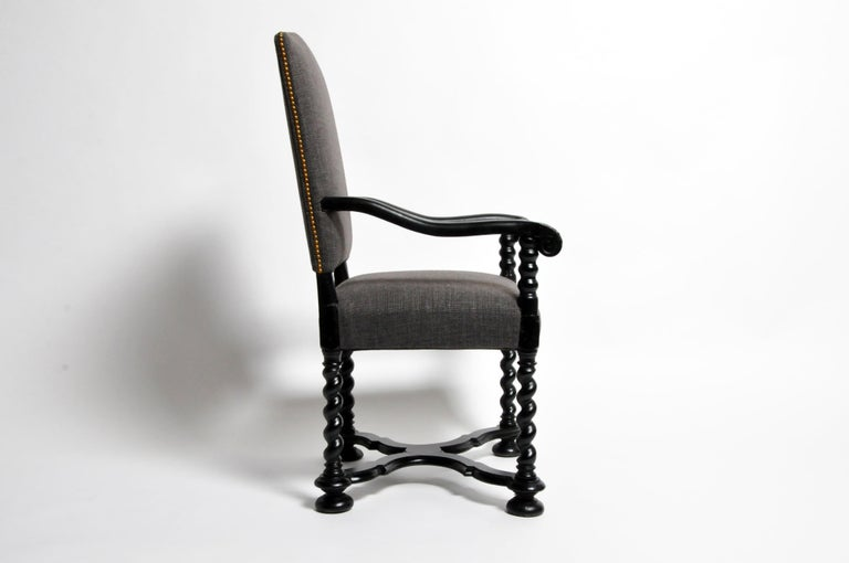 French Louis XIII Style Carved Armchair For Sale