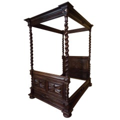 Louis XIII Style Queen Sized Four Poster Bed and Two Bedside Cabinets C1880
