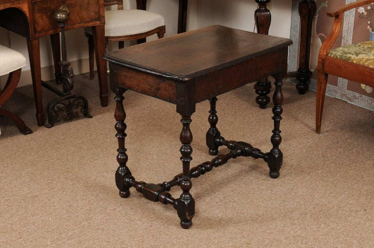 Louis XIII Walnut Side Table with Turned Legs & Stretcher, France, circa 1680 5
