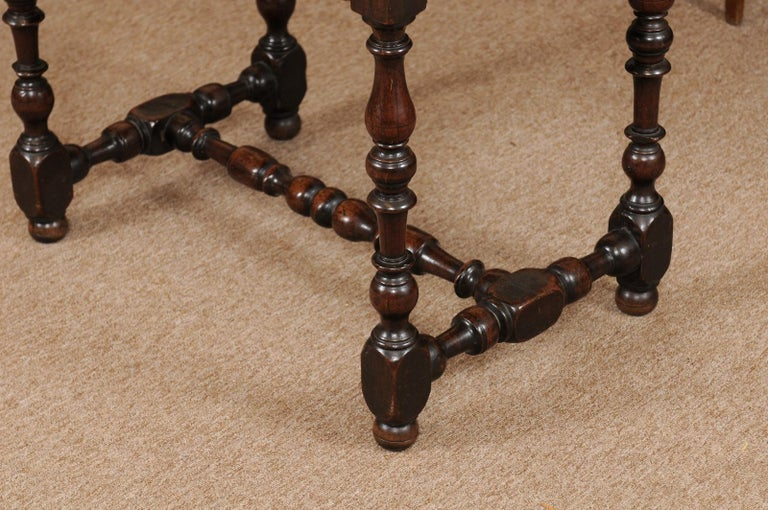 Louis XIII Walnut Side Table with Turned Legs & Stretcher, France, circa 1680 6