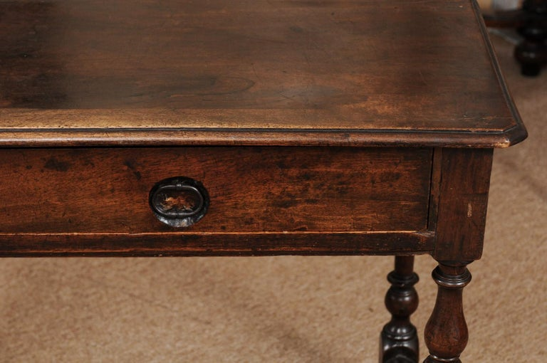 Louis XIII Walnut Side Table with Turned Legs & Stretcher, France, circa 1680 7