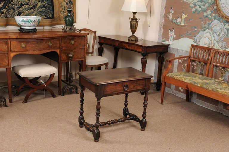 French Louis XIII Walnut Side Table with Turned Legs & Stretcher, France, circa 1680