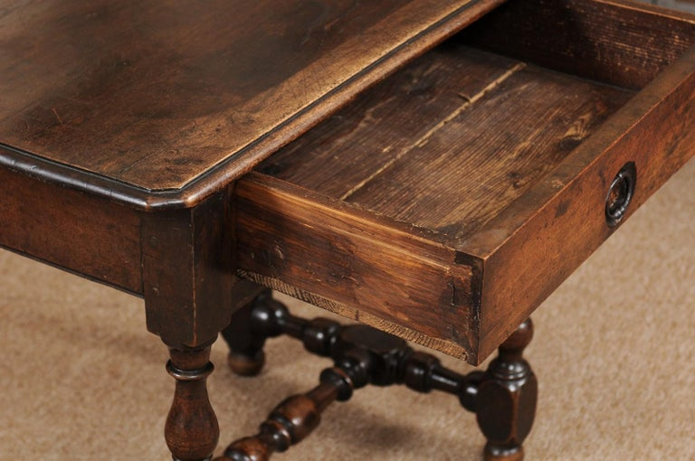 17th Century Louis XIII Walnut Side Table with Turned Legs & Stretcher, France, circa 1680