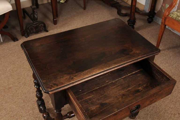 Louis XIII Walnut Side Table with Turned Legs & Stretcher, France, circa 1680 1