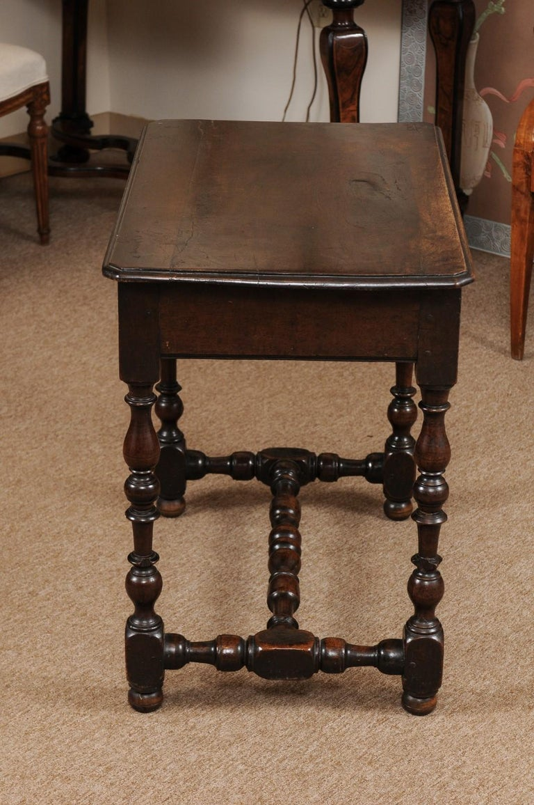 Louis XIII Walnut Side Table with Turned Legs & Stretcher, France, circa 1680 2