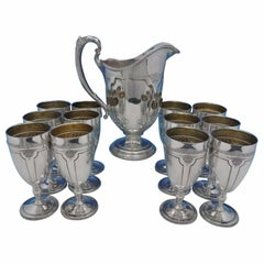 Louis XIV by Towle Sterling Silver Water Goblet Set 13-Piece Goblets Pitcher