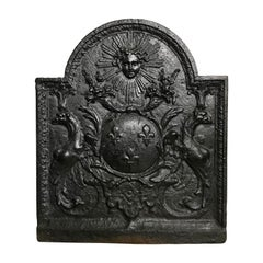 Louis XIV Cast Iron Fireback Featuring the Sun King and Royal Heraldic Symbols