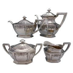 Louis XIV Chased by Dominick & Haff Four Piece Coffee Set Marked #1498