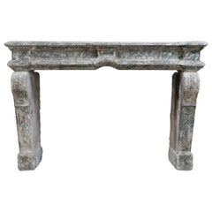 19th Century Louis XIV Fireplace Mantel of French Limestone
