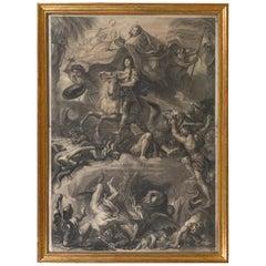 Louis XIV on Horseback, Engraved by Gerard Edelink after Charles Lebrun