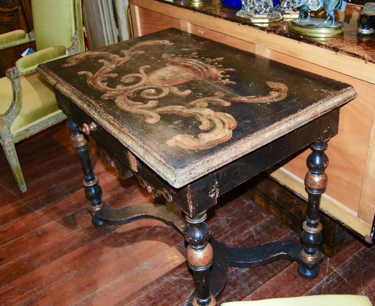 French Louis XIV Painted Writing Table For Sale