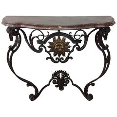 Louis XIV Period Wrought Iron Console with Soleil Symbol and Fleur-de-Lis