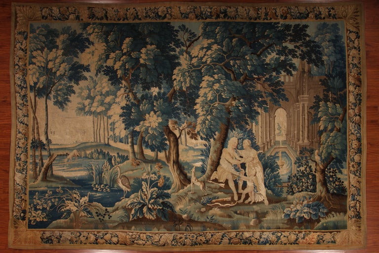 Louis XIV Style Antique French Aubusson Verdure Tapestry, Venus and Adonis For Sale 5
