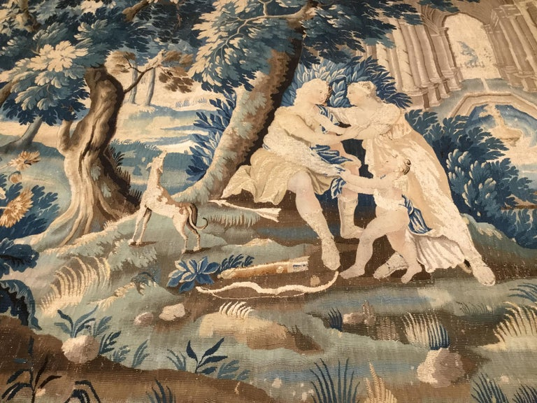 Wool Louis XIV Style Antique French Aubusson Verdure Tapestry, Venus and Adonis For Sale