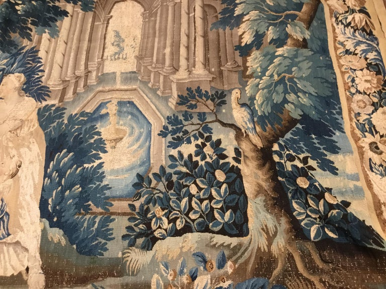 Louis XIV Style Antique French Aubusson Verdure Tapestry, Venus and Adonis For Sale 1