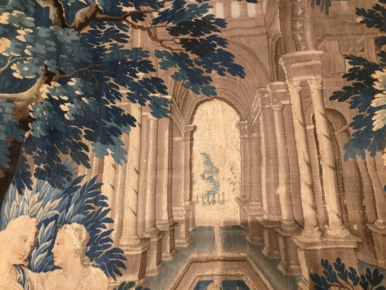 Louis XIV Style Antique French Aubusson Verdure Tapestry, Venus and Adonis For Sale 2