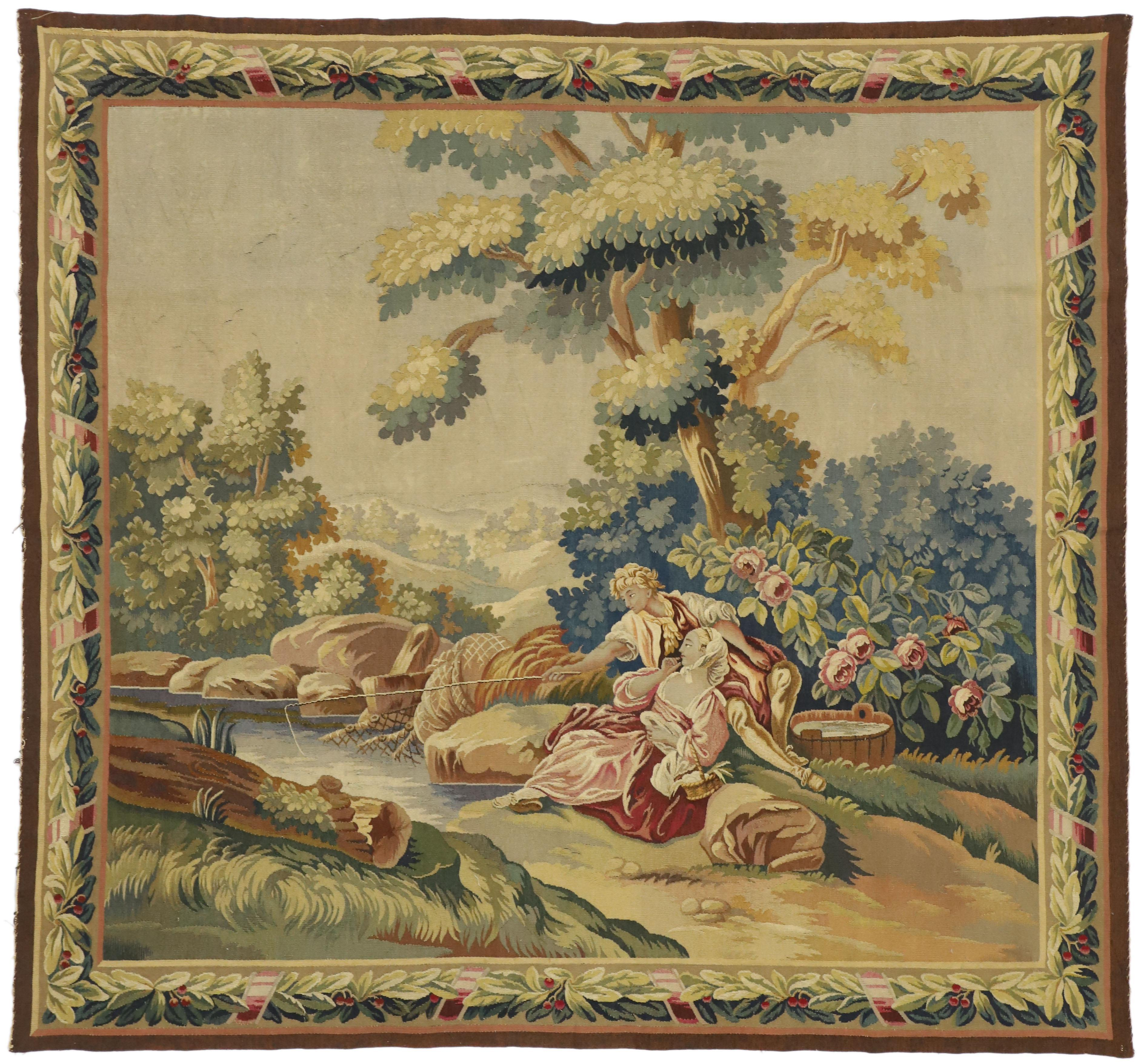 Louis XIV Style Antique French Rococo Tapestry Inspired by Francois Boucher