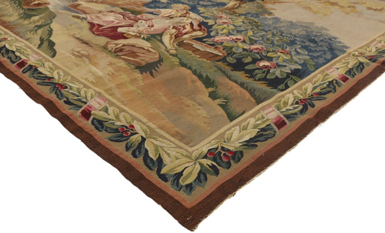Francois Illas New Tradition: Louis XIV Style Antique French Rococo Tapestry Inspired By