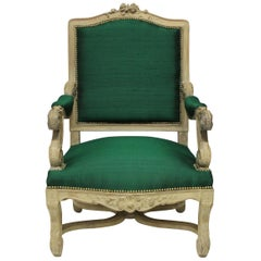 Louis XIV Style Armchair in Emerald Silk